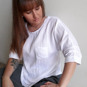 Avoca Blouse with 3/4 sleeve made in linen blend fabric. White