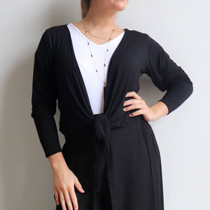 Ballet Wrap Top - long sleeve wrap-around stretch cardi in bamboo. Black