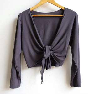 Ballet Wrap Top - long sleeve wrap-around stretch cardi in bamboo. Charcoal. Hanger view.