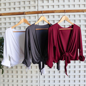 Ballet Wrap Top - long sleeve wrap-around stretch cardi in bamboo. Colour selection.