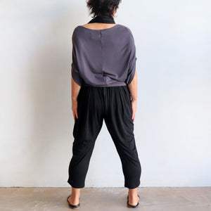 Bamboo Lounge Pant by KOBOMO is a plus-size, pull-on stretch jodhpur style with pockets. Back view.