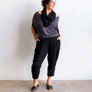 Bamboo Lounge Pant by KOBOMO is a plus-size, pull-on stretch jodhpur style with pockets
