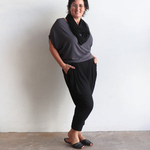 Bamboo Lounge Pant by KOBOMO is a plus-size, pull-on stretch jodhpur style with pockets. Side view.