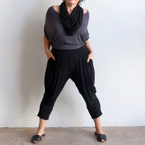 Bamboo Lounge Pant by KOBOMO is a plus-size, pull-on stretch jodhpur style with pockets. Front view.