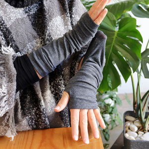 Barista Winter Mittens - fingerless gloves and long arm warmer accessory. Charcoal Chai.