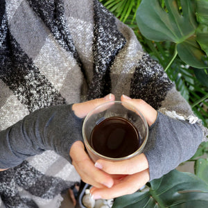 Finger-less winter warmers made with a stretchy cotton knit. Long mitts that are great for staying warm while keeping fingers free. Charcoal Chai.
