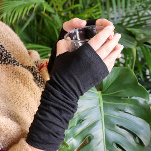 Barista Winter Mittens - fingerless gloves and long arm warmer accessory. Long Black. Side arm view.