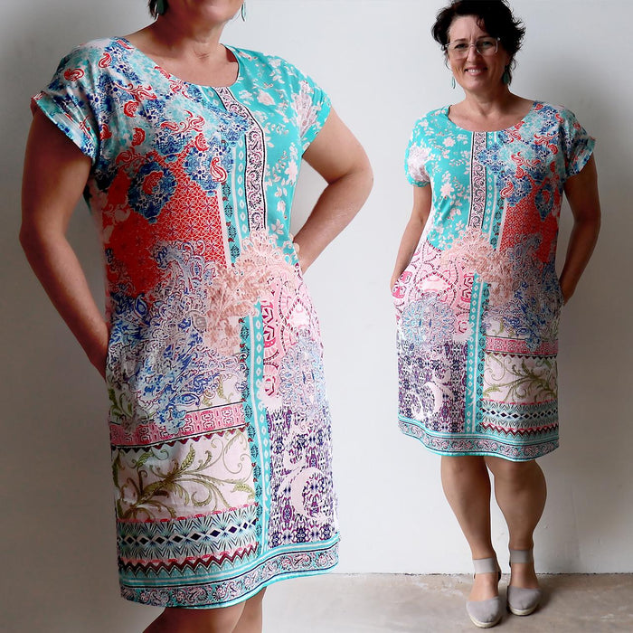 Be The Change Reversible Cotton Shift Dress - Madeira