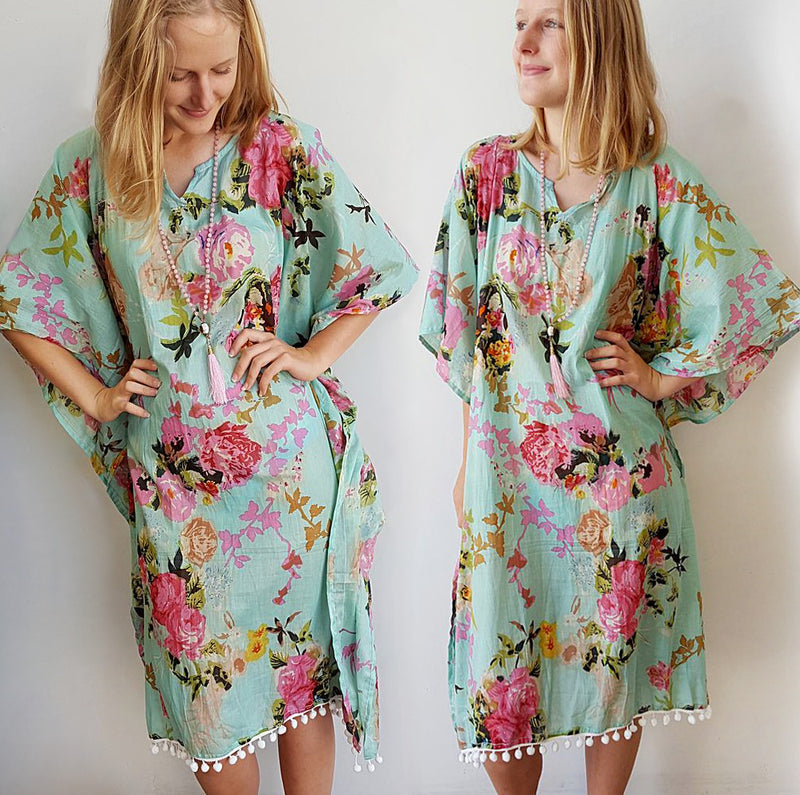 Cotton beach kaftan dress in vintage mint pink floral print. Beautiful over swimwear for plus sizes and as a beach holiday cover-up.