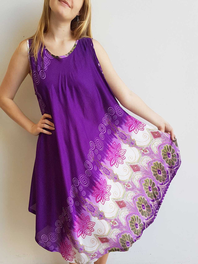 Ladies below the knee scalloped hem sleeveless summer dress. Plus size fitting - Purple