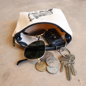 Cotton canvas printed zipper bag. Perfect for keys, sunglasses or loose change.