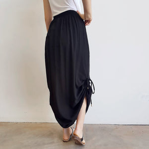 Temple Maxi Skirt with adjustable drawstring length for summer or winter fashions. Black.