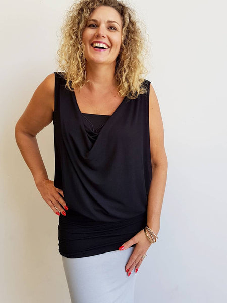 Double layer stretch jersey sleeveless 'Nella' dress / top. Tube underlay + loose overlay with cowl neck feature. Easy fit Summer dress / top available in petite > plus size!  Black