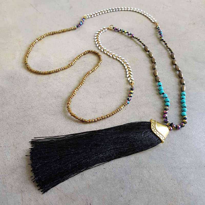 Long tassel pendant handmade glass bead ethnic style necklace. Mocha + blue.  Black