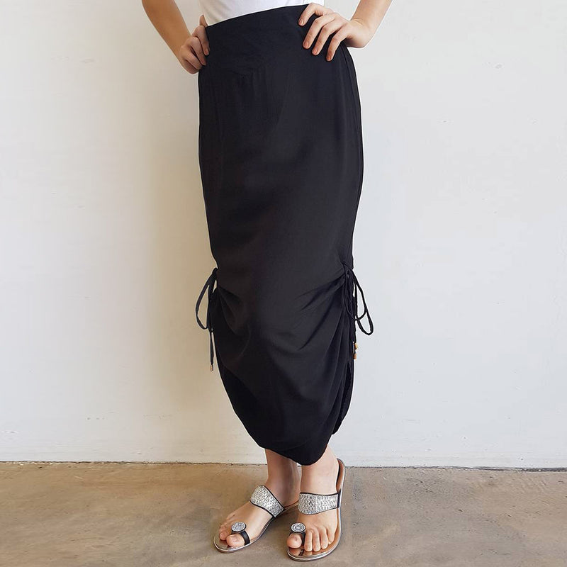 Temple Maxi Skirt with adjustable drawstring length for summer on winter fashions. Black.