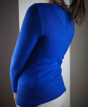 long sleeve scoop neck bodycon knit cotton jumper cobalt blue