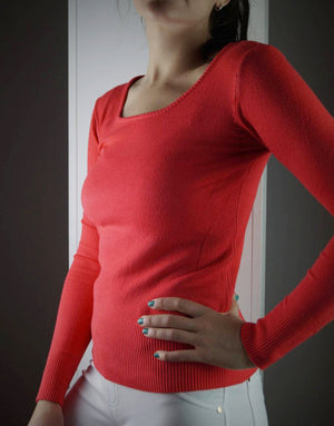 long sleeve scoop neck bodycon knit cotton jumper - coral