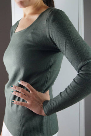 long sleeve scoop neck bodycon knit cotton jumper - khaki