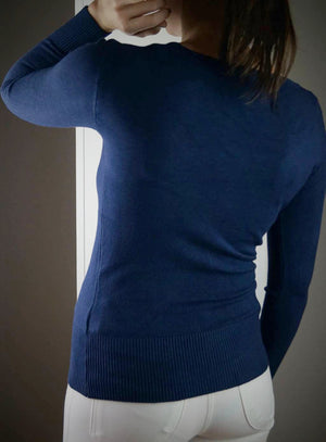 long sleeve scoop neck bodycon knit cotton jumper - navy
