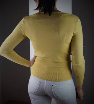 long sleeve scoop neck bodycon knit cotton jumper - ochre