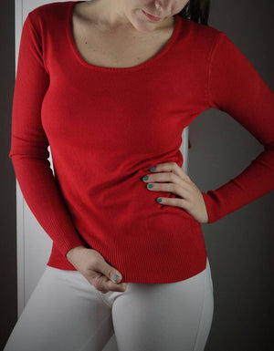 long sleeve scoop neck bodycon knit cotton jumper - red