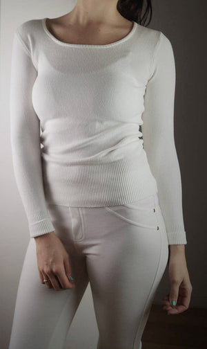 long sleeve scoop neck bodycon knit cotton jumper - white