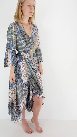 Gorgeous lightweight boho style wrap dress for spring. Summer dress with sleeves + plunging V-neck | Multi-colour patchwork print. Standard Australian sizes 8 > 16.