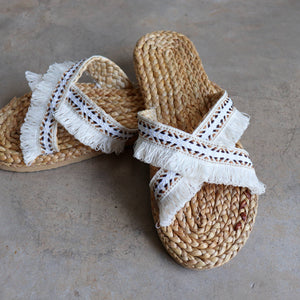 Bora Bora Beach Slide woven raffia sandal for a natural feel and boho style.