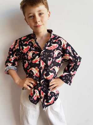 Koi Fish Cotton Button Up Shirt - Boys or Girls. Red Koi on Black.