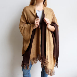 Broadway Knit Blanket Wrap - reversible colour winter poncho style. Almond / Chocolate Brown