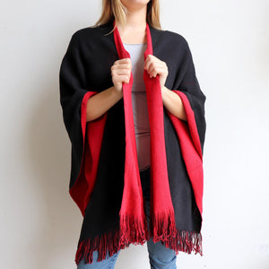 Broadway Knit Blanket Wrap - reversible colour winter poncho style. Crimson Red / Black