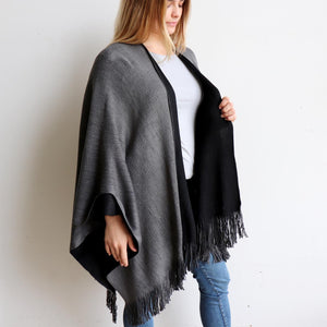 Broadway Knit Blanket Wrap - reversible colour winter poncho style. Charcoal Grey / Black. Side View