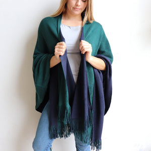 Broadway Knit Blanket Wrap - reversible colour winter poncho style. Emerald Green / Navy Blue
