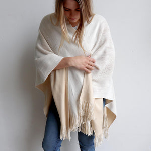 Broadway Knit Blanket Wrap - reversible colour winter poncho style. Cream Beige