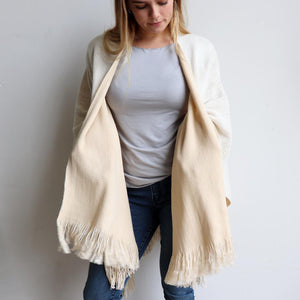 Broadway Knit Blanket Wrap - reversible colour winter poncho style. Cream / Beige. Front view.