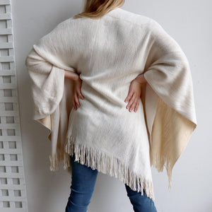 Broadway Knit Blanket Wrap - reversible colour winter poncho style. Cream / Beige. Back view.