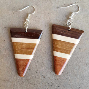 varnished parquetry wood art deco earrings