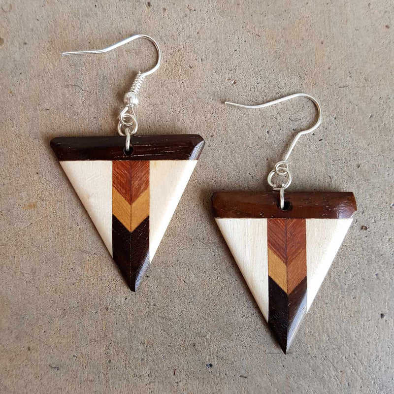 vanished parquetry wood art deco earrings