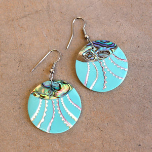 By The Sea Shore Earrings / Mother Of Pearl Shell / Disc - Ocean Mist Green.