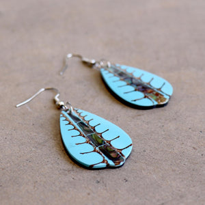 By The Sea Shore Earrings / Mother Of Pearl Shell / Fan - Aqua Blue