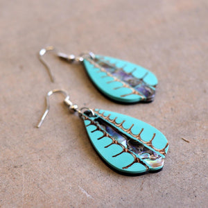 By The Sea Shore Earrings / Mother Of Pearl Shell / Fan - Ocean Mist Green