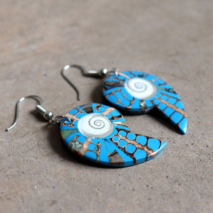 By The Sea Shore Earrings / Mother Of Pearl Shell / Shell-Blue.