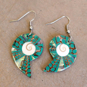 By The Sea Shore Earrings / Mother Of Pearl Shell / Shell - Ocean Mist Green.