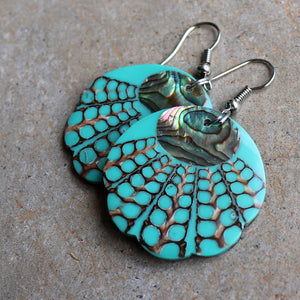 By The Sea Shore Earrings / Mother Of Pearl Shell / Scallop - Ocean Mist Green.