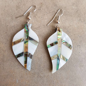 By The Sea Shore Earrings / Mother Of Pearl Shell / Leaf.