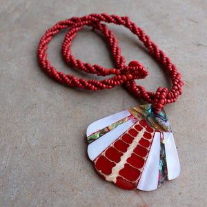 By The Sea Shore Pendant Necklace made with mother-of-pearl and glass beads in a red coral fan