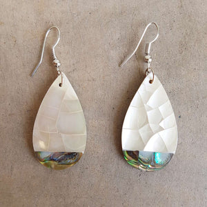 By The Sea Shore Earrings / Mother Of Pearl Shell / Tear Drop Shape.