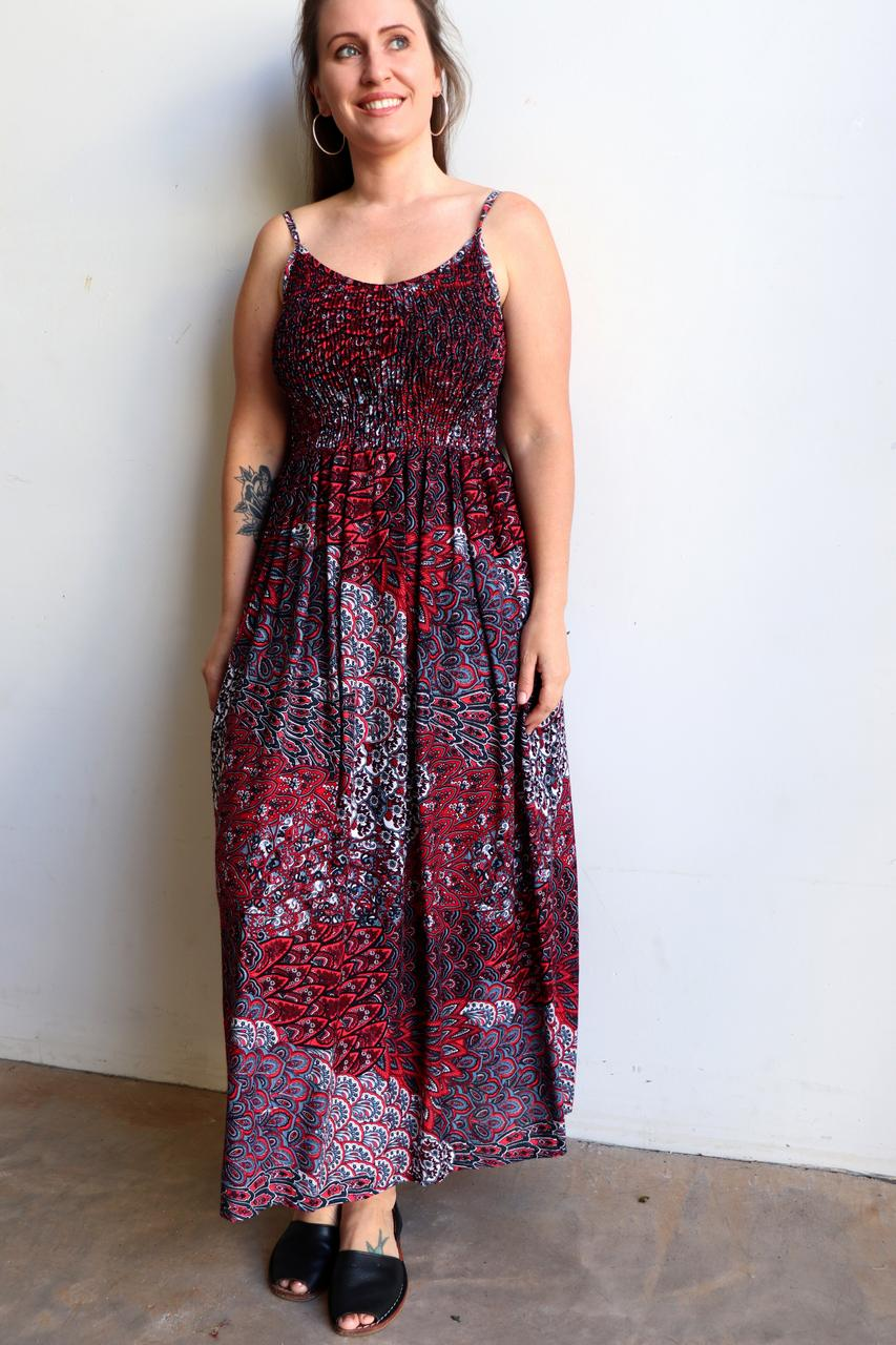 e40454502259 ... Womens flowy maxi sundress tunic gown with shirred bodice and  adjustable spaghetti straps in peacock paisley ...