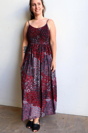 Womens flowy maxi sundress tunic gown with shirred bodice and adjustable spaghetti straps in peacock paisley print. Generous one size fit flatters most from size 10 to 18 or up to 120cm bust - Ruby Red
