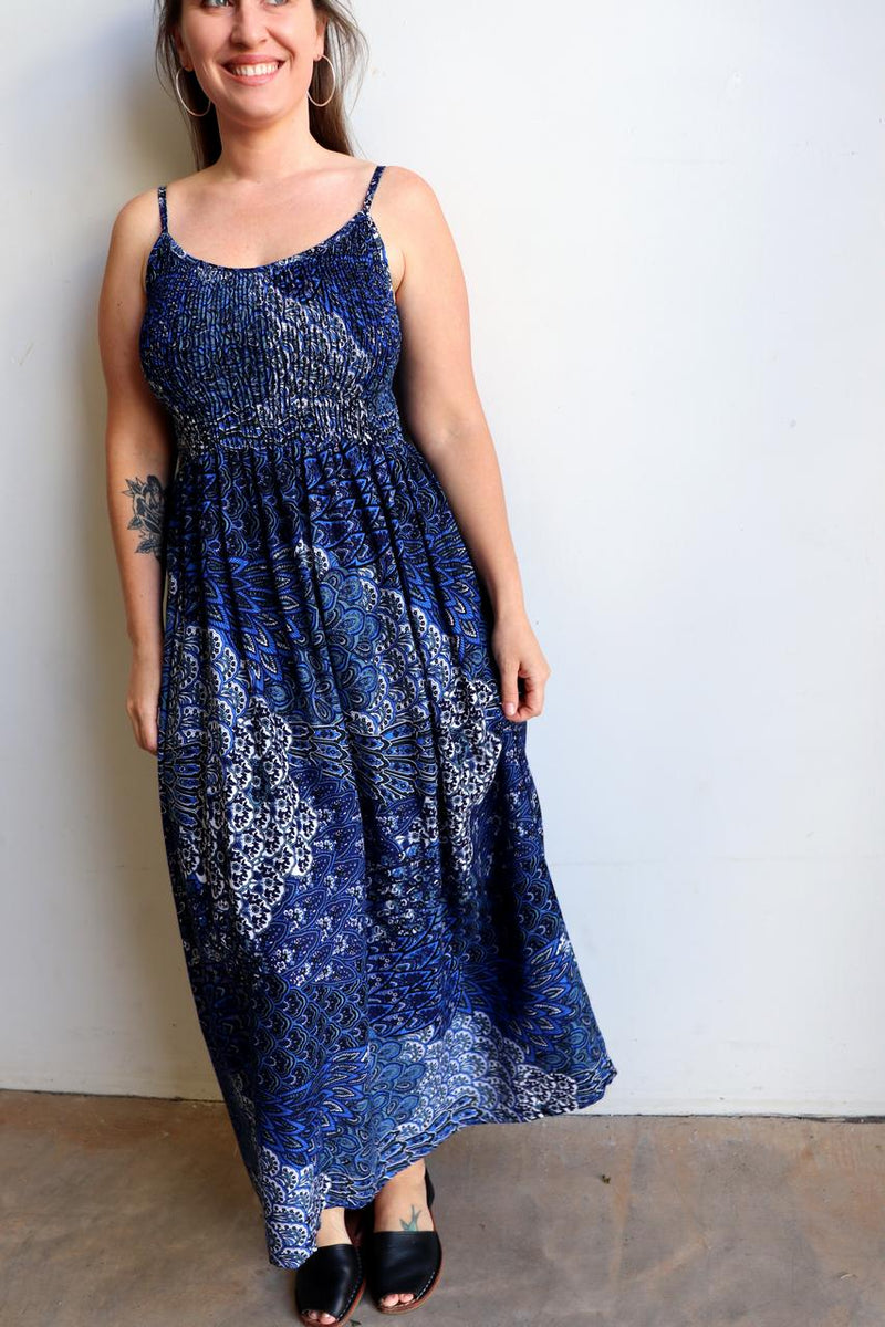Womens flowy maxi sundress tunic gown with shirred bodice and adjustable spaghetti straps in peacock paisley print. Generous one size fit flatters most from size 10 to 18 or up to 120cm bust - Sapphire Blue